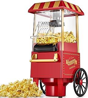 Machine à Pop Corn, 1200W Retro Machine à Popcorn avec Air Chaud, Sans Gras Huile, Facile á L'utilisation, Rouge[Classe é...