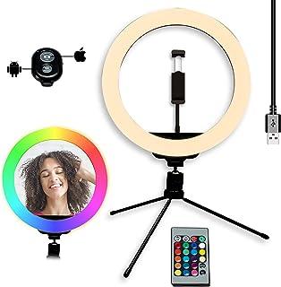 Aro de Luz con Tripode 10'', Anillo de Luz para Móvil con 15 Colores RGB + 10 Niveles de Brillo y 3 Modos de Luz, Grabació...