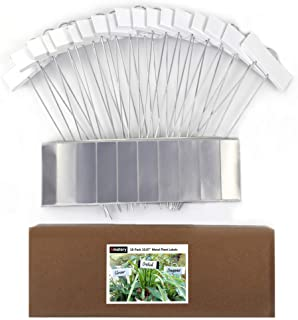"""Amatory Metal Plant Labels Garden Markers Gardening Planting Seedling Signs Nursery Tags Reusable for Vegetable Herb Flower 18 Pcs, with 36 Pcs Self-Adhesive Polyester Labels (White-10.7"""")"""