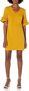 Lark & Ro Women's Florence Ruffle Half Sleeve V-Neck Sheath Dress