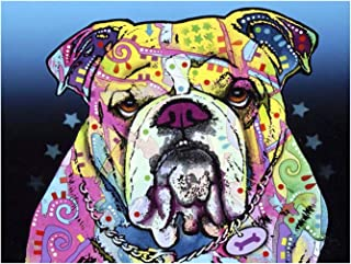 Aphila Diamond Painting Kits for Adults Round Drills Full Resin Rhinestones Embroidery Cross Stitch Decor Gift Colorful Bulldog 30x40cm/12