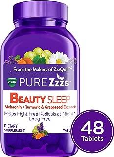 Vicks PURE Zzzs Beauty Sleep Melatonin Sleep Aid tablets w/ Turmeric, Grape Seed Extract, Chamomile, Lavender, & Valerian Root, 1mg per tablet, 48 ct