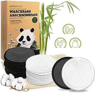 22 stuks make-uppads, wasbaar, herbruikbare wattenpads van bamboe en katoen, perfect voor gezichtsreiniging, milieuvriende...