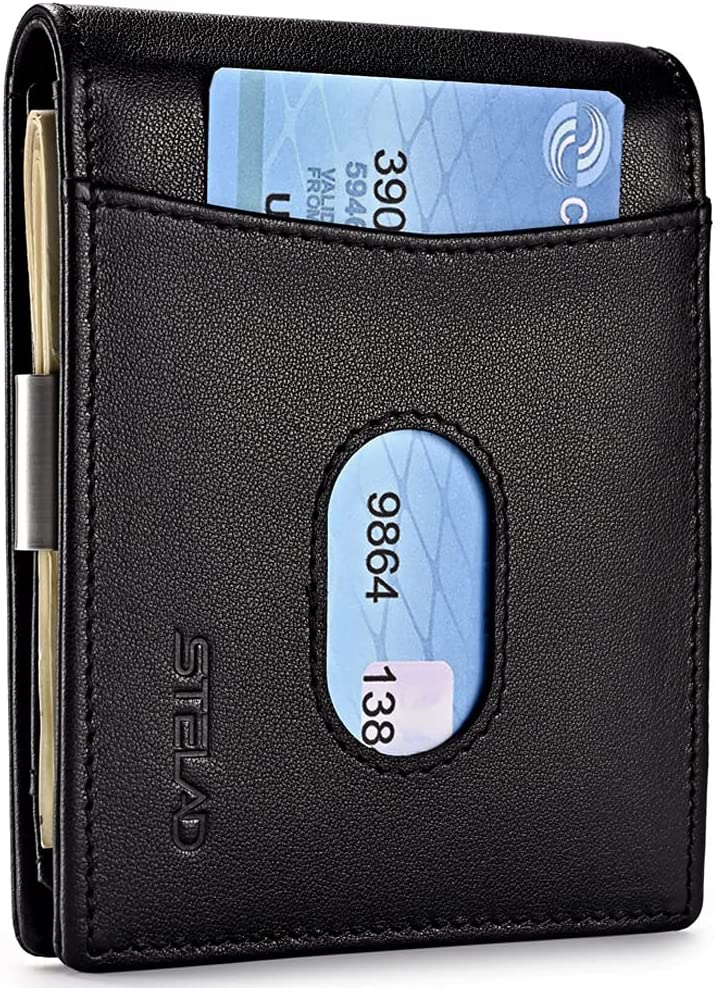 Leather Wallets for Men   Trifold Wallet with Money Clip   Slim Wallet With RFID Protection   Business Card Holder with Small Pull   Ideal for Elegant and Stylish Men   ID Window Wallet   Includes Gift Box   STELAD (Black)