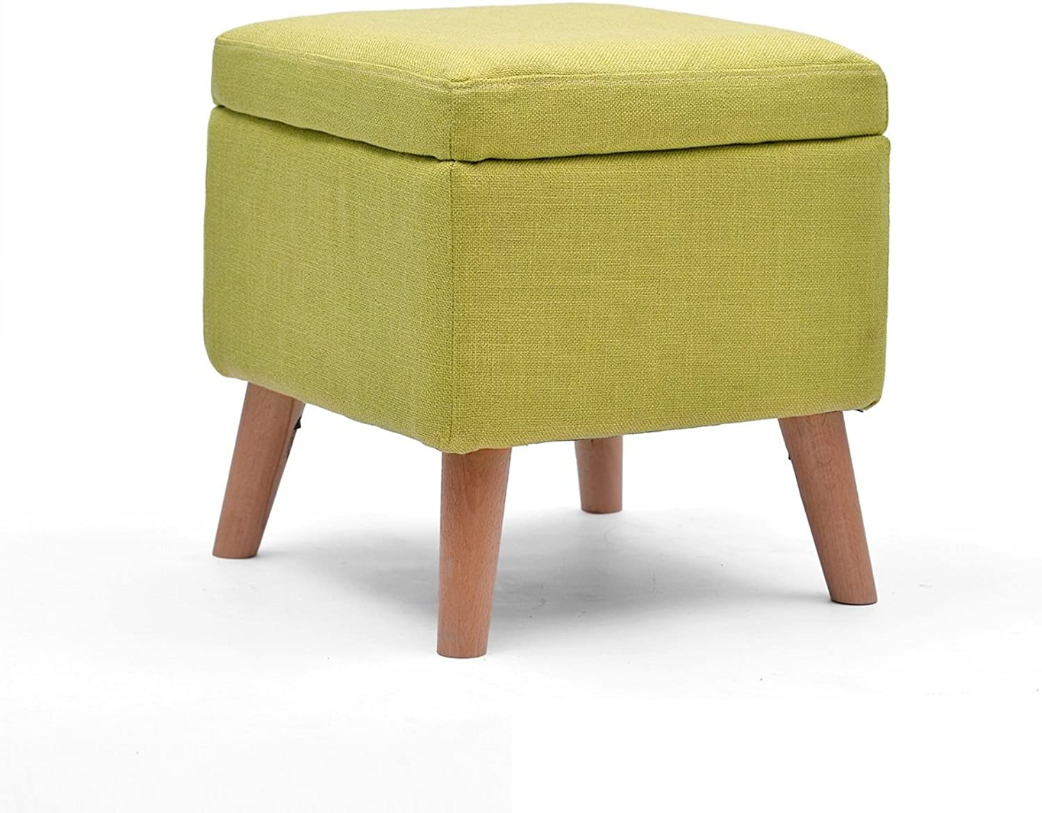 Solid Wood Stool Sofa Foot Stool shoes Storage Stool Nail Stool Sofa Stool Bed Stool Dressing Stool Coffee Table Stool Multifunctional Footstool   40  40  42cm (color   Green)