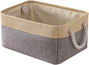 TheWarmHome Decorative Basket Rectangular Fabric Storage Bin Organizer Basket with Handles for Clothes Storage (Grey Patch...
