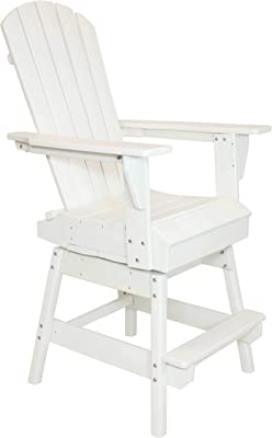 Sunnydaze All-Weather White Outdoor Balcony Adirondack Swivel Chair - Tall Heavy Duty HDPE Weatherproof Chair - Ideal for Yard, Garden or Balcony