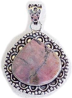 Rhodonite Pendant, Silver Plated Brass Pendant, Handmade Pendant, Gift Jewelry, Women Jewellry, Fashion Jewellry, BRS-12495