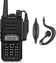 Baofeng GT-3WP VHF/UHF Walkie Talkie Transmisores-receptores Radio de Banda Dual Dispositivo IP67 Impermeable 128 Canales Walkie Talkie, Negro