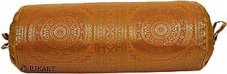 RJKart Brocade & Polydupion Silk Decorative Bolster Pillow Covers 30 x 15 inch (Gold)