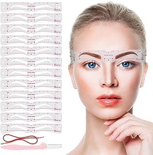 Eyebrow Stencils,12PCS Eyebrow Shaper Kit,Reusable Eyebrow Template With Strap and Eyebrow Razor,3 Minutes Eyebrow Makeup ...