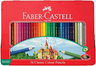 Faber-Castell Classic Colored Pencils Tin Set, 36 Vibrant Colors in Sturdy Metal Case