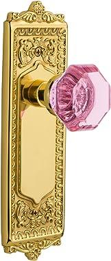 Nostalgic Warehouse 723324 Egg & Dart Plate Double Dummy Waldorf Pink Door Knob in Polished Brass