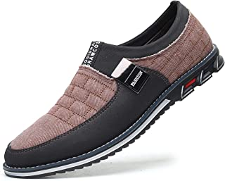 Men Casual Shoes Luxury Comfortable Loafers Driving Flats Sneakers Shoes for Male Fashion Black Brown Leather Lace-up Business Work Office Dress