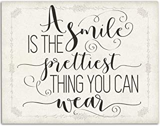 A Smile Is The Prettiest Thing - 11x14 Unframed Typography Art Print - Makes a Great Inspirational Gift and Bathroom Decor Under $15