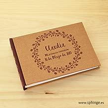 Libro de firmas para comunión personalizado, libros de firmas para bodas, bautizo, libro de firmas personalizado, artesanal, hecho a mano, apaisado, A5