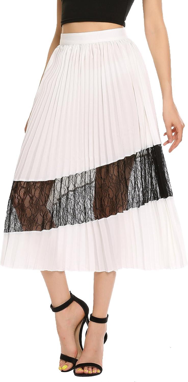 Zeagoo Women's Chiffon Maxi Skirt Lace High Waist Pleated A-line Midi Vintage Skirts