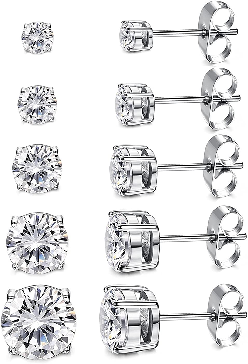 Women's 14K Gold Plated CZ Stud Earrings Simulated Diamond Round Cubic Zirconia Ear Stud Set(5 Pairs)