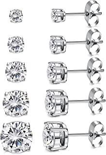 Women's 18K Gold Plated CZ Stud Earrings Simulated Diamond Round Cubic Zirconia Ear..