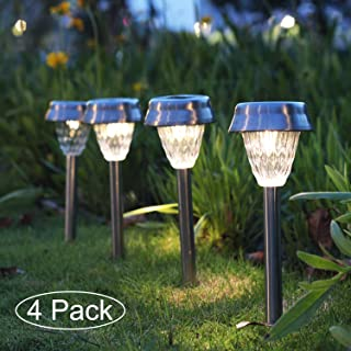 Tiuanh Sidewalk Solar Lights with Stainless Steel Stakes Solar Lights Outdoor Pathway Bright White Led Walkway Solar Lights for Garden,Lawn,Patio,Yard (4 Pack,Silver)