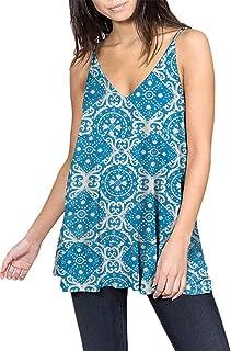 Twinklady Women's Summer V Neck Tops Short Sleeve Boho Printed Tunic Tops Plus Size Shirt Blouse S-XXL