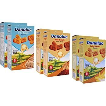 DANALAC Baby Biscuits 120g Combo Pack - 2 Banana, 2 Cocoa, 2 Natural Plain - Snack and Food for Toddlers 6+ Months with Calcium, Iron and Vitamins