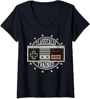 Womens Nintendo NES Controller Classically Trained V-Neck T-Shirt