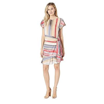 eci Flutter Sleeve Stripe Faux Wrap Dress (Red/Beige) Women