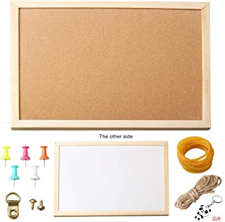 Pengxiaomei Bulletin Board Set, 3040cm Cork Board and Whiteboard Combo with Push Pins and Rubber Band for Home School Teaching Message Memo Picture Board
