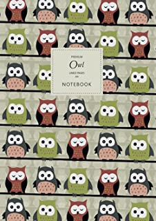 Owl Notebook - Lined Pages - A4 - Premium: (Autumn Edition) Fun Notebook 192 lined pages (A4 / 8.27x11.69 inches / 21x29.7cm)