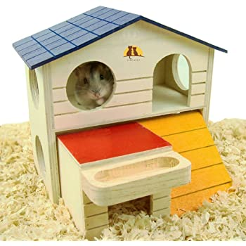 emours Pet Small Animal Hideout Hamster House Deluxe Two Layers Wooden Hut Play Toys Chews