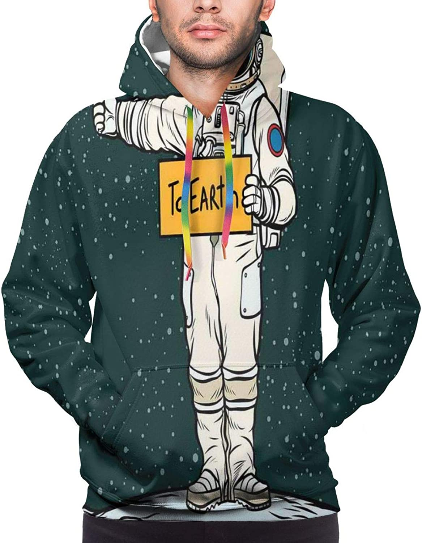 Men's Hoodies Sweatshirts,Astronaut Couple in Love Valentines Day Celestial Sci Fi Comic Pop Art Marriage