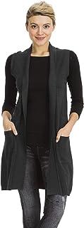 NANAVA Women's Solid Long Vest Sleeveless Draped Lightweight Open Front Cardigan Sweater
