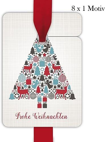 10 x 8 Retro Weißachts Geschenkanh er, Geschenkkarten, Papieranh er, H e Etiketten, Tags zu Weißachten mit Weißachtsbaum aus Vintage Ornamenten  Frohe Weißachten, Format 10 x 6,9cm