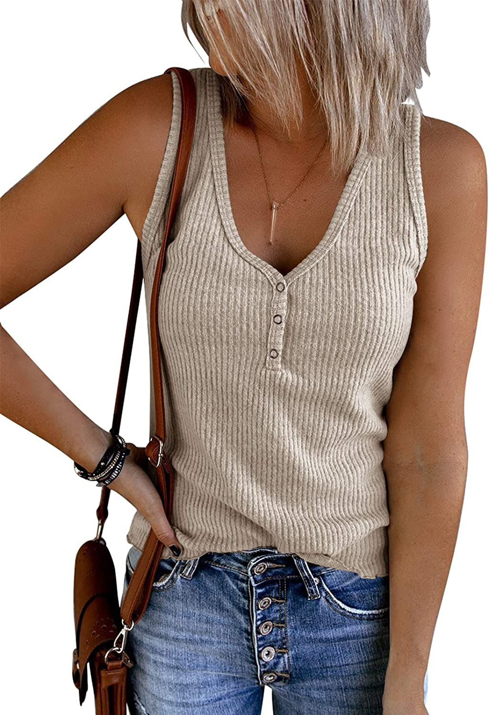 Saodimallsu Womens V Neck Tank Tops Summer Ribbed Sleeveless Henley Shirts Casual Loose Button Up Cami Knit Tees