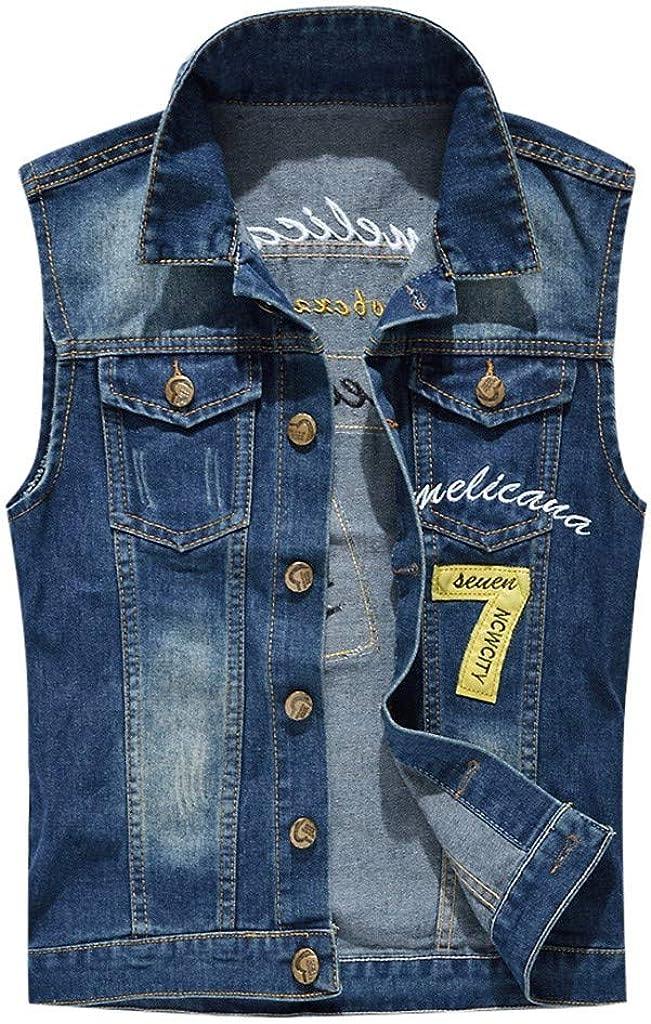 MODOQO Men's Vest Jeans Jacket Casual Sleeveless Lapel Lightweight Cowboy Outwear