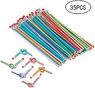 35 PCS Multicolored Striped Magic Pencil With Eraser, Soft Bendy Pencils,Magic Flexible Pencil