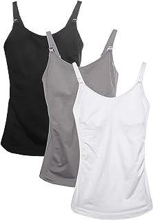 763a5ba081704 HOFISH Ultra Soft Pregnant Seamless Maternity & Nursing Cami Tank Top with  Pads