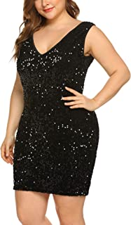 2e30cf7f4aa4 IN'VOLAND Womens Sequin Dress Plus Size Sexy Party Cocktail Bodycon Formal  Prom V Neck