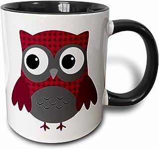 "3dRose mug_61031_4 ""Cute Ruby Red Houndstooth Patterned Owl"" Two Tone Black Mug, 11 oz, Multicolor"