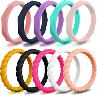 Miusco Silicone Wedding Rings for Women, Thin & Stackable Band, 10 Packs