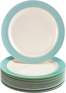 "DISPOSABLE SIDE PLATES | Heavy Duty Plastic Dishes | Elegant Fine China Look | Pastel Collection – Turquoise (40 PC - 7.5"")"