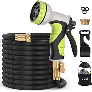 Garden Hose, Flexible Expandable Anti-Leakage Lightweight Hose with Solid Brass Fittings 9 Function Spray Nozzle (100Feet-...