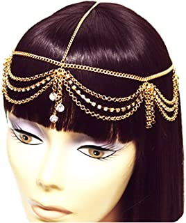 Gold Tone Womens Rhinestone Accent Draped Head Chain Jewelry IHC1030G