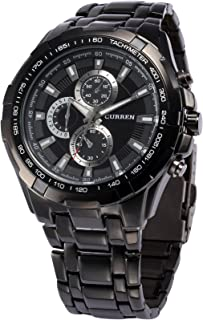 Men's Business Watch Analog Stainless Steel Band Quartz Wrist Watch for Sport