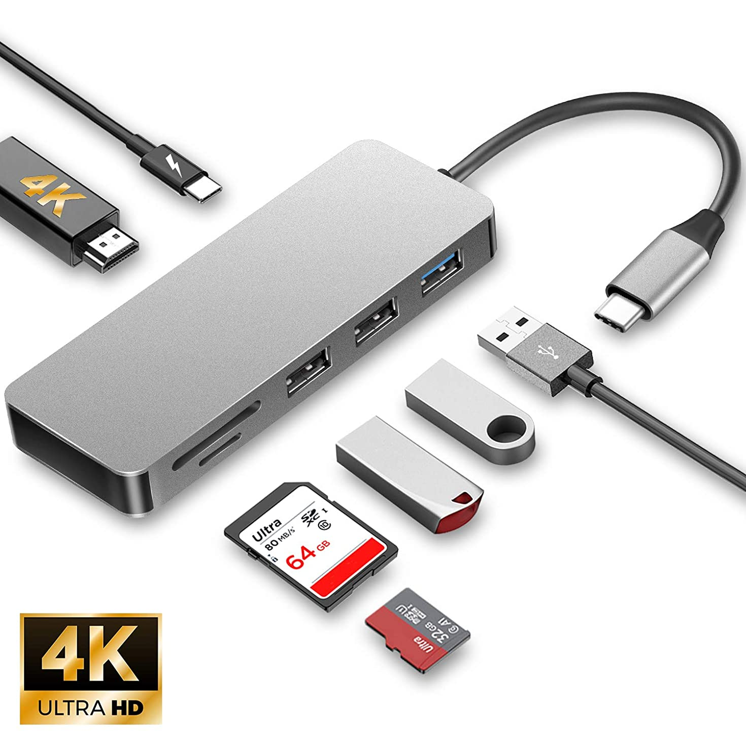 USB C Hub,7-in-1 Type C Adapter with 4K USB C to HDMI,USB C Charging Port,1 USB 3.0 Port,2 USB 2.0 Ports,SD/TF Card Reader,Compatible for MacBook Pro 2016/2017/2018,MacBook air 2018,XPS and More
