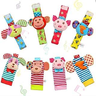 FunsLane 8 Packs Kids Rattle, Kids Wrist Rattles and Foot Finder Socks Set, Educational Development Soft Animal Toy Shower Gift with Monkey, Elephant, Puppy and Piggy