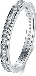 BORUO 2MM 925 纯银戒指,方晶锆石婚戒可叠加戒指尺寸 4-12
