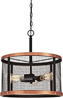 Westinghouse Lighting 6332700 Emmett Three-Light Indoor Pendant, Oil Rubbed Bronze Finish with Washed Copper Accents and Mesh Shade, Galvanized Steel