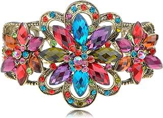 Alilang Rainbow Colorful Jewel Gem Flower Star Crystal Rhinestone Fashion Bracelet Bangle Cuff